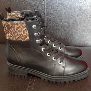 Nine West Black Combat Boots, Leopard Accent  SZ 9